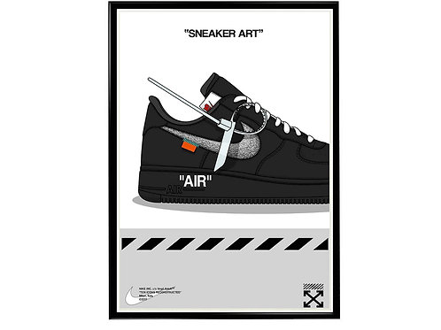 Off White X Nike AF1 Sneaker Poster, Hypebeast Poster, Modern Pop Art Poster