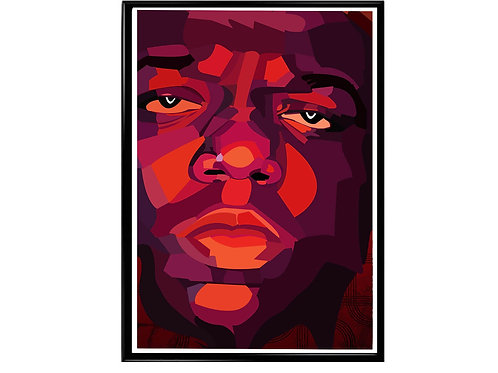 Notorious Big Low Poly Art Poster, Music Poster, Hip Hop Wall Art