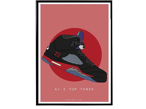 Air Jordan 5 Top 3 Sneaker Poster, Hypebeast Poster, Kicks