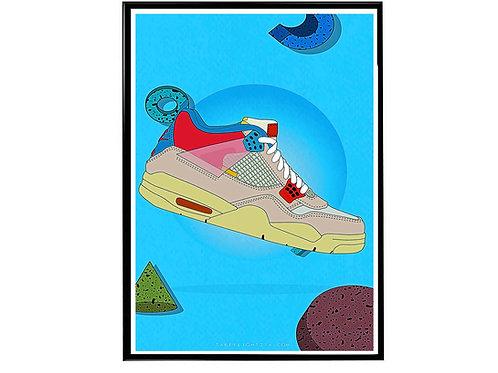 Union LA X Air Jordan Pk Sneaker Poster, Hypebeast Poster Sneaker Art