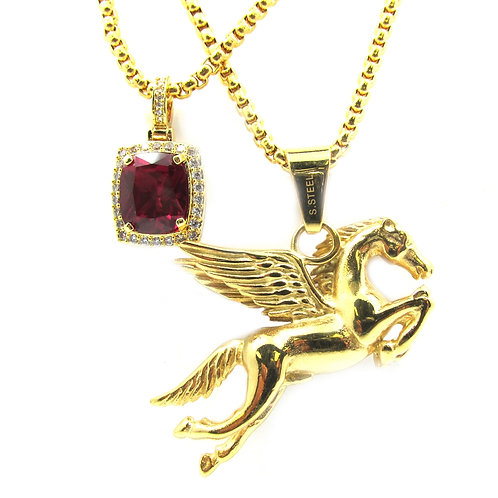 Ruby CZ + Pegasus 14k Gold Over Stainless Steal