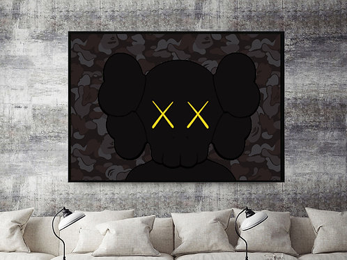 Kaws x Bape Inspired Mashup Custom Kicks Sneaker 12x18 Poster Wall Art
