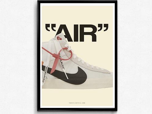 Off White X Nike Blazer Poster, Modern Wall Art, Hypebeast Sneaker Poster