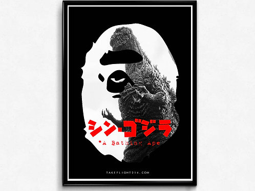 Bape x Godzilla Inspired Poster, Hypebeast Poster Print, Pop Culture Poster Art
