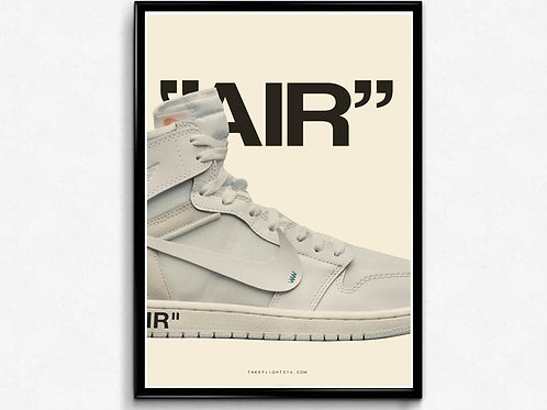 OWJ White Poster, Pop Culture Wall Art, Hypebeast Posters, Sneaker Poster