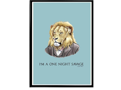 One Night Savage ASAP Ferg Quote Poster, Funny Animal Art, Rap Music Poster