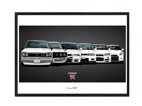 Skyline GTR History Poster, Fast & Furious Poster, Exotic Car Poster