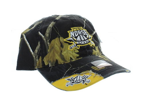 Northern Kentucky Norse Woodland Camo Distress Strap Back Hat Adjustable