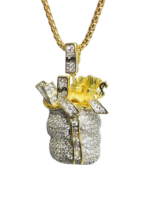 Money Bag Wt. CZ 14k Gold Over Stainless Steal Mini Piece