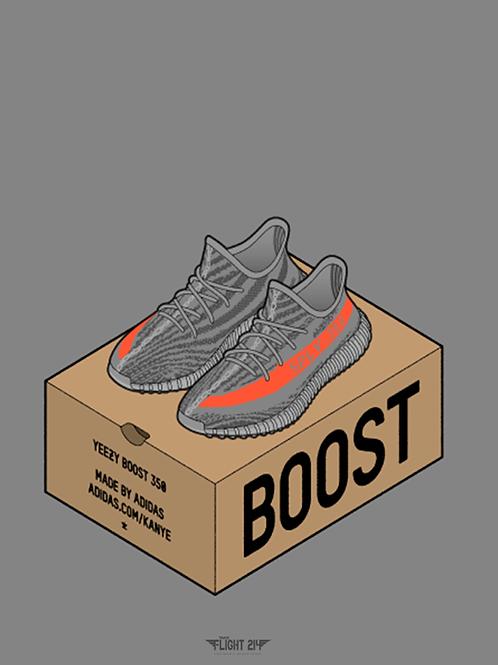 Yeezy Boost 350 V2 Beluga Boxing Custom Kicks Sneaker 12x18 Poster Art