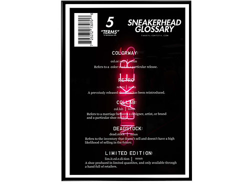 Sneaker Glossary Sneakerhead Poster, Hypebeast Poster, Kicks