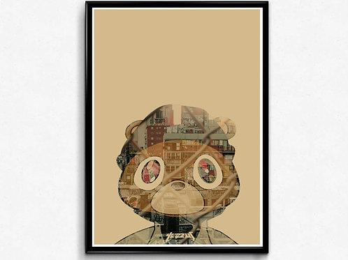 Ye Bear Street Art Poster, Graffiti Art Poster, Hypebeast Wall Ar