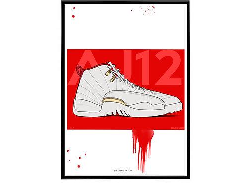 Jordan 12 FIBA Sneaker Poster, Hypebeast Poster, Kicks Poster