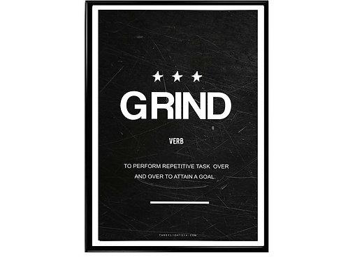 Grind Minimal Art Motivational Poster, Hypebeast Poster