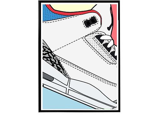 Air Jordan 3 Seoul Close Sneaker Poster, Hypebeast Poster