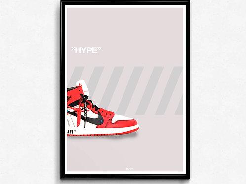 Off White x Jordan 1 Sneaker Poster, Modern Wall Art, Hypebeast Poster