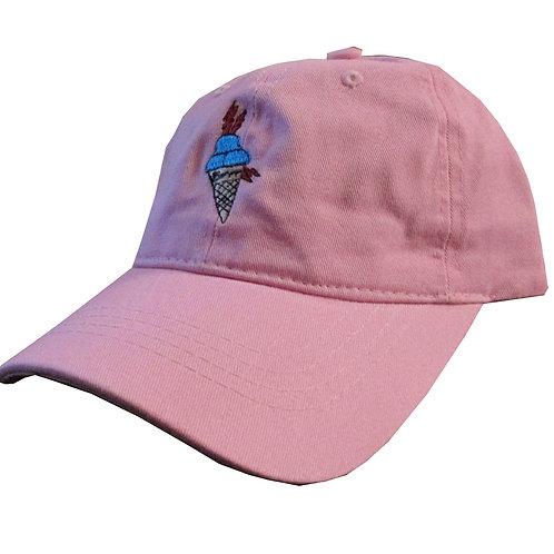Custom Gucci Mane Ice Cream Cone Meme Salmon Pink  Twill Dad HatCotton Dad Hat
