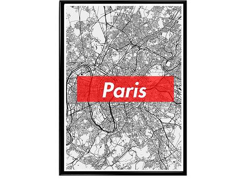 Paris Map Box Logo Hypebeast Wonderlust Poster