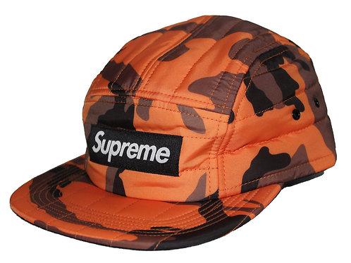 Supreme Quilted Orange Camo Camp Cap Adjustable 5 Panel Hat