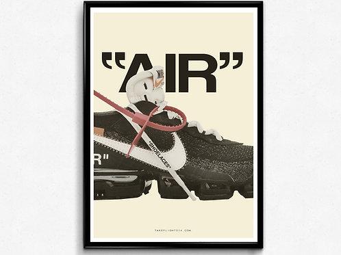 Off White X Nike Vapormax Poster, Modern Wall Art, Hypebeast Sneaker Poster