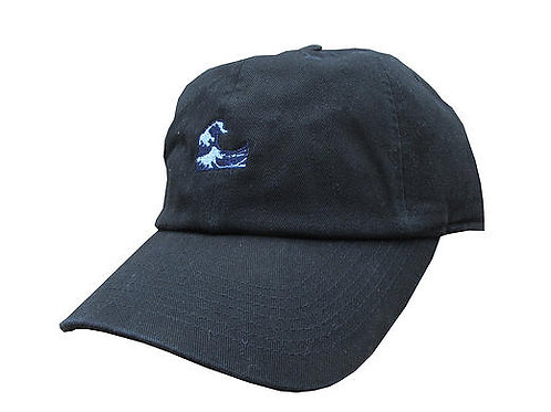 Waves Emoji Meme Black Twill Cotton Dad Hat Cap