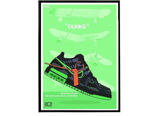 Off White x Nike Rubber Dunk BK Sneaker Poster, Hypebeast Poster