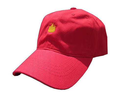 Lit Fire Emoji Meme Red Twill Cotton Dad Hat Cap