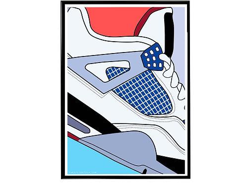 Air Jordan What The 4s Close Sneaker Poster, Hypebeast Poster Sneaker Art