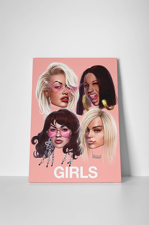 Rita Ora Cardi B Girls Canvas Art, Hypebeast Canvas Print Pop Culture Canvas Art
