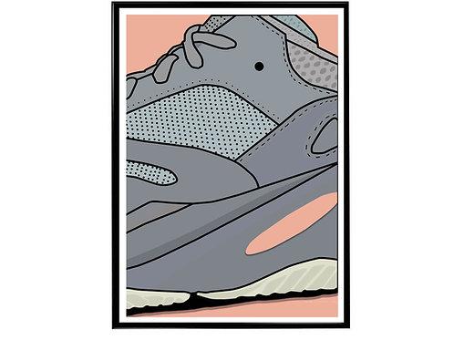 Yeezy Boost 700 Inertia Sneaker Poster, Hypebeast Poster, Modern Pop Art
