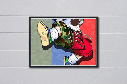 Bape DBZ Inspired Poster Modern Wall Art Poster, Pop Culture Poster Art