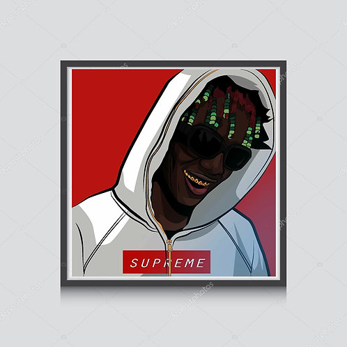 Lil Yachty x Supreme Illustration Poster Hypebeast Poster Pop Culture Poster Art