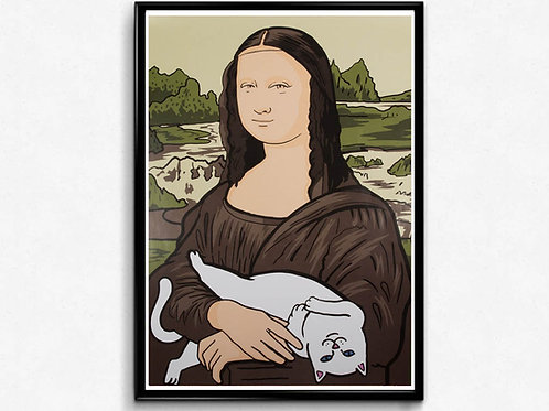 Mona Lisa Cat Drawing Poster Funny Meme Wall Art Hypebeast Skateboard Poster