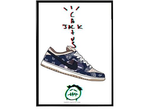Cactus Jack SB Dunk Sneaker Poster, Hypebeast Poster, Kicks Poster