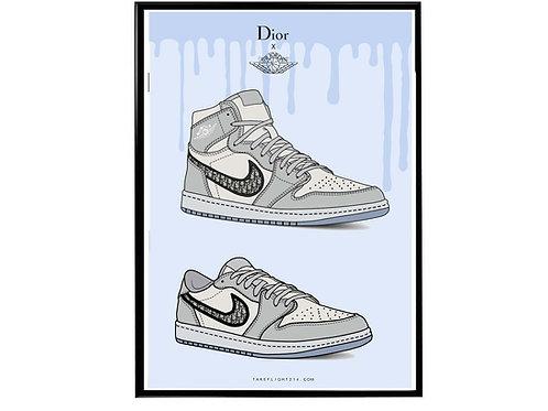 Air Jordan 1 x Dior Sneaker Poster, Hypebeast Poster, Kicks Poster