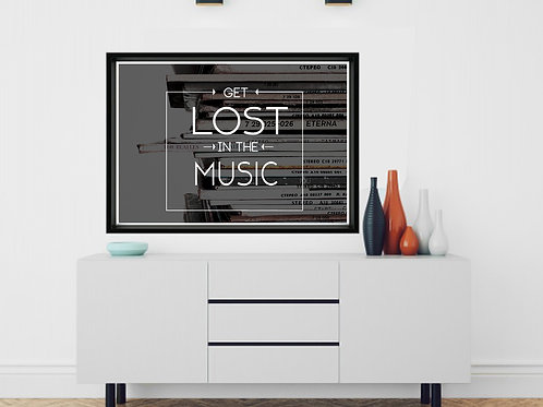 Lost In The Music Poster, Song Lyric Wall Art, Textured Print, Mixed Media