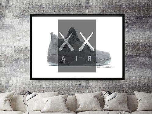Kaws x Air Jordan 4 Custom Kicks Sneaker 12x18 Poster Wall Art