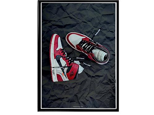 Retro Jordan 1 Paper Art Sneaker Poster Printable