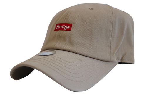 5b0d70f3cdd Supreme Savage Box Logo Khaki Twill Cotton 21 Savage Low Profile Dad Hat
