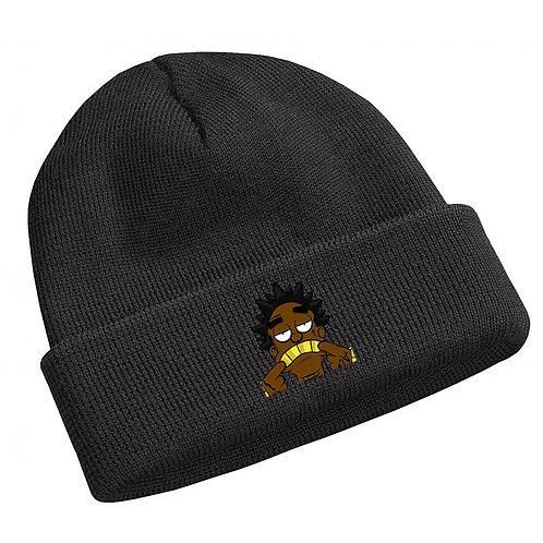 Kodak Black Cartoon Drawing Black Beanie Knit Cap Hat