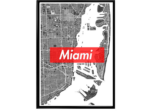 Miami Map Box Logo Hypebeast Wonderlust Poster