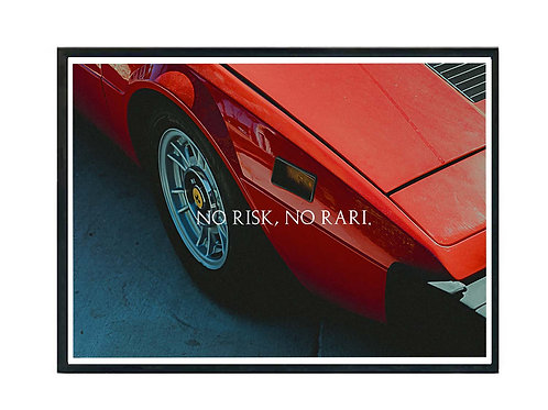 No Risk No Rari Red Sports Car Poster, Hypebeast Poster, Exotic Car Art