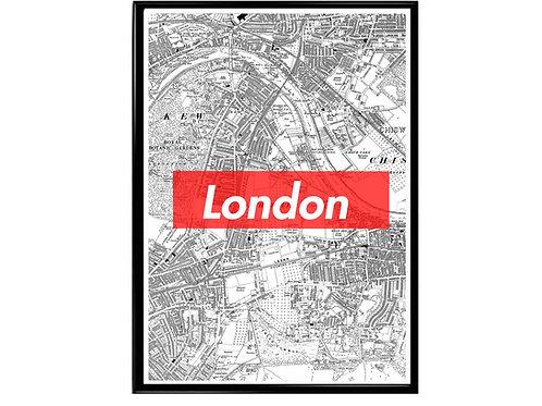 London Map Box Logo Hypebeast Wonderlust Poster
