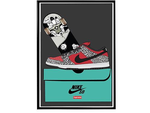 Supreme Dunk Sneaker Pop Art Poster, Hypebeast Poster Kicks Poster