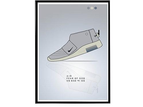 Air Fear of God Gray Sneaker Poster, Hypebeast Poster, Modern Pop Art