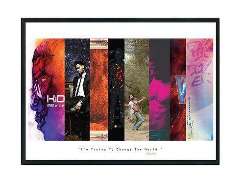 Kid Cudi Album History Poster, Hypebeast Poster, Music Hip Hop Poster