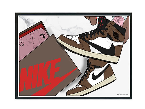 The Unboxing Sneaker Poster, Hypebeast Poster Travis Scott Jordan 1 Kicks Poster