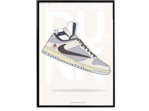 Travis Scott x Play Station Dunks Sneaker Poster, Hypebeast Poster