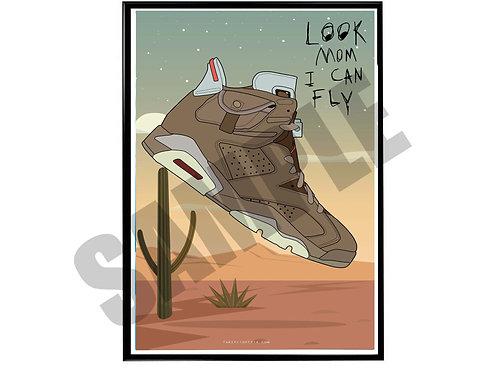 Travis Scott Air Jordan 5 Sneaker Desert Poster