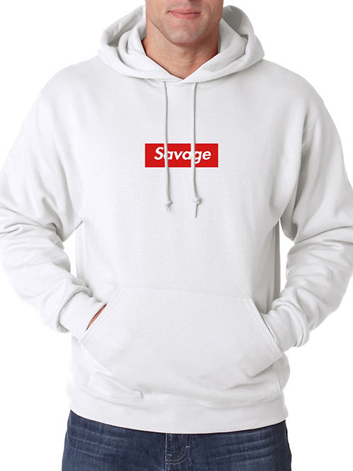 Supreme Savage Box Logo White Hoodie Hooded Sweatshirt Sweater